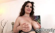Enjoy whole lotta sexy babe Marie Philippe's show as she poses her curvy body with those famous huge natural tits, shaved pussy & big ass! This lusty brunette with her beautiful face & big brown eyes is a real sexmachine, see how happy she is while