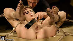 Her horny master isn't done with her yet as he tortures her in the dungeon