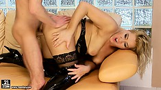 Blonde cougar rides hard on a young guy's hard and eager cock
