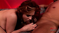 Big tit brunette titty fucks and gets drilled before eating cock