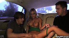 Mckenzee Miles is joined in the back by another guy to use her body