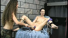 Tawny likes that dildo-on-a-drill action, with her master, in the dungeon
