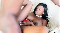 The ebony beauty with fabulous boobs and a superb ass gets fucked hard and deep
