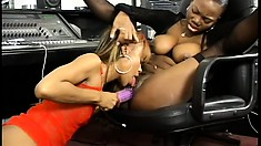 Ebony lesbians taste each other's cunts and enjoy the pleasure their sex toys provide