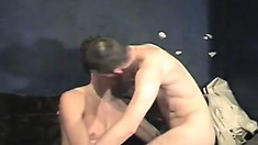Hot gay boy has a cock banging his ass while he entertains another with his lips
