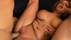 Blonde slut with big boobs has some fun with two proud love rods