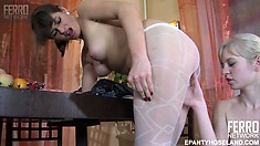 Gertie and Paulina get naughty with each other and play in their lacy stockings