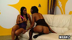 Ebony lesbians Imani and Dariel share a dildo and experience overwhelming pleasure