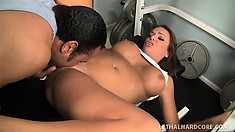 Voluptuous brunette with big boobs rides a black shaft on her way to find pleasure