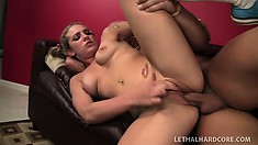 Striking blonde college babe with a marvelous ass Bailey Blue loves to get fucked hard