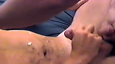 Horny stud jerks his own dick to orgasm while his lover's cock invades his ass