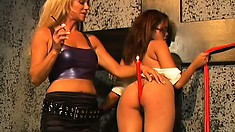 Curvy redheaded schoolgirl gets punished by a mean blonde mistress