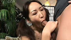 Cute Asian babe with pigtails Myu relishes every thrust of cock in her tight cunt