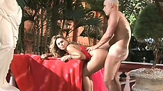 Wonderful blonde in sexy red lingerie Agatha gets fucked in both holes
