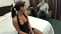 Courtney Cummz wears a pair of slutty stockings while being fucked