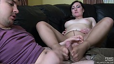 Leggy broad uses her feet to get her lucky boy toy in the mood