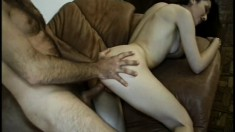 Sexy slim brunette Sabrina gets her anal hole drilled deep and rough