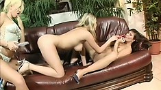Beautiful lesbian ladies come together for some naughty playtime