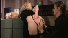 Pleasant fair-haired courtesan in black underwear amazes her partner
