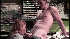 Chubby redhead gets her mature cunt plowed by a younger mechanic