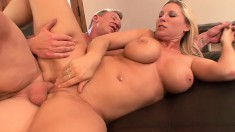 Curvy blonde milf pleases herself before a hung guy drills her snatch