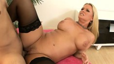 Fat blonde MILF in stockings gets her curves shaken up by a BBC