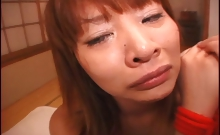 Japanese chick gets a facial after breaking down in tears